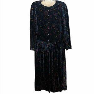 VINTAGE Cornell Trading Floral Velvet Midi Dress